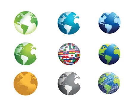 wereldbol icon set illustratie ontwerp op wit Stock Illustratie