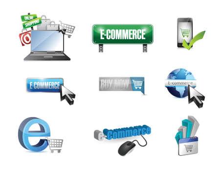 e commerce icon: e commerce business icon set illustration design over white