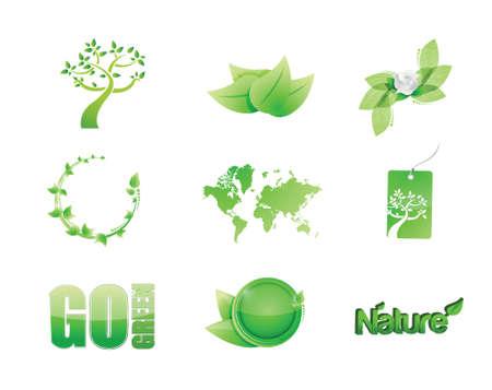 greener: green nature concept icon set illustration design over white
