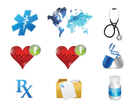 health and medical concept icon set illustration design over white Stock Illustratie