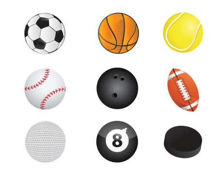sport balls: sports balls equipment icon set illustration design over white