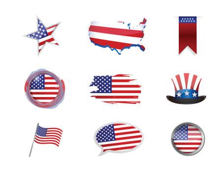 USA america icon set illustration design over white