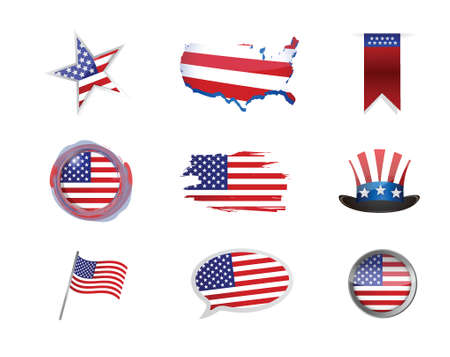 USA america icon set illustration design over white Vector
