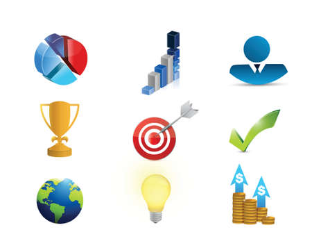 business success concept: business success concept icon set illustration design over white