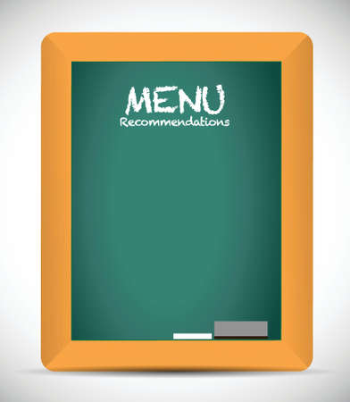 recommendations: menu recommendations board sign illustration design over white Illustration