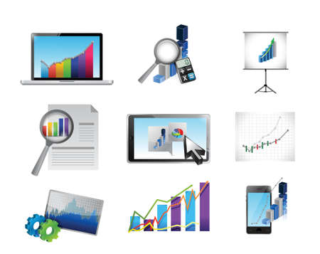 business reporting concept icon set illustration design over white Illustration