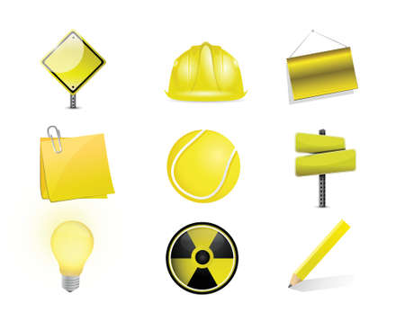 clipart street light: yellow objects icon set illustration design over white
