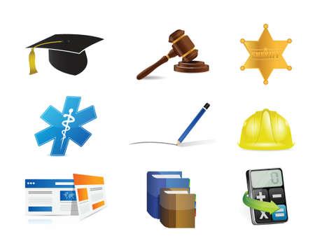 educated: career jobs concept icon set illustration design over a white background Illustration