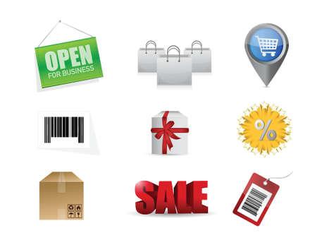 shopping market concept icon set illustration design over a white background Vector