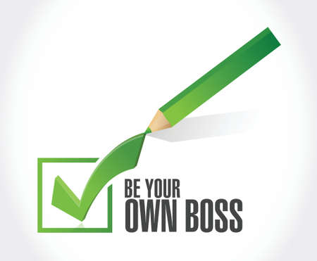 crucial: be your own boss check mark illustration design over a white background