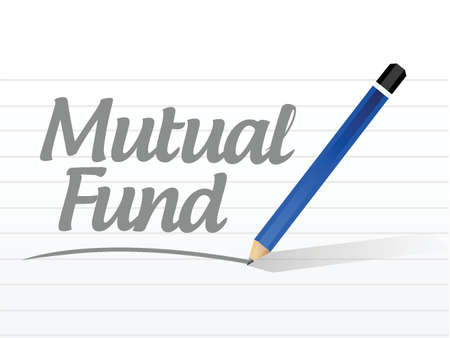 mutual fund: mutual fund message sign illustration design over a white background