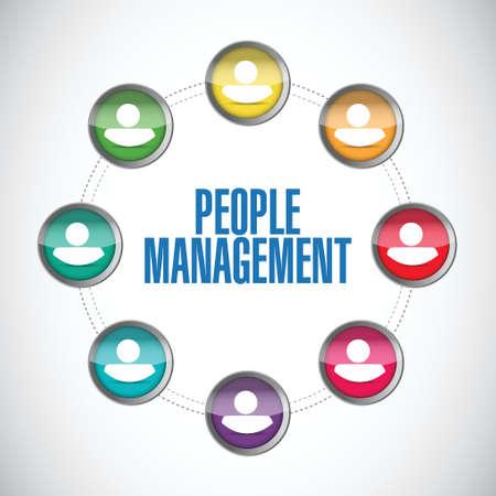 concentrating: people management board sign illustration design over white Illustration