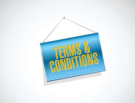 legality: terms and conditions hanging banner illustration design over white