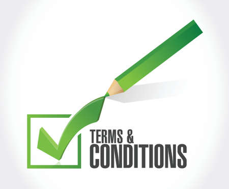 define: terms and conditions check mark illustration design over white