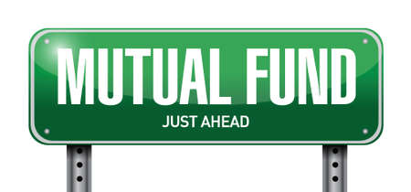 mutual funds: mutual fund road sign illustration design over a white background Illustration