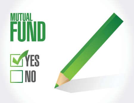mutual fund check mark illustration design over a white background
