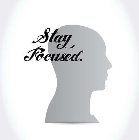 összpontosított: koncentrált maradni fej jel illusztráció tervezés alatt fehér
