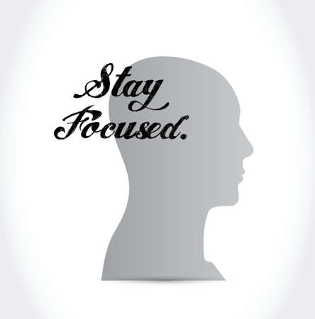 mindful: stay focused head sign illustration design over white