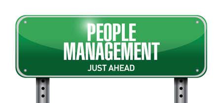 mindful: people management street sign illustration design over white