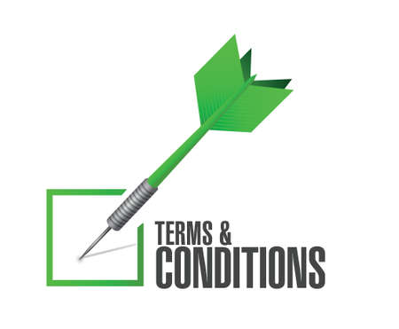 legality: terms and conditions check dart illustration design over white Illustration