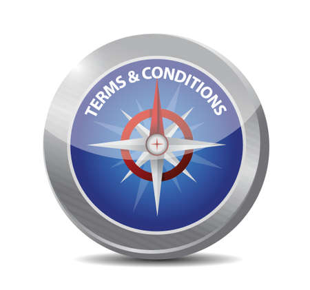 legality: terms and conditions compass illustration design over white