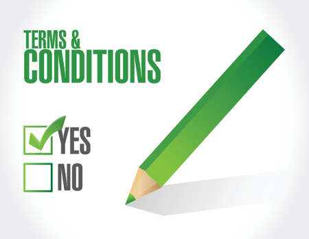 terms and conditions check mark illustration design over white