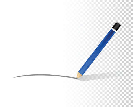 writing lines: pencil line over a blank design layer illustration design