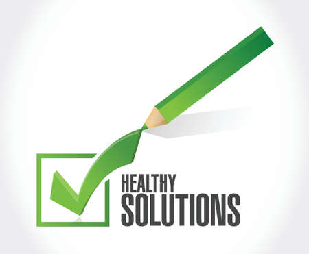 healthy solutions check mark illustration design over white background Illustration