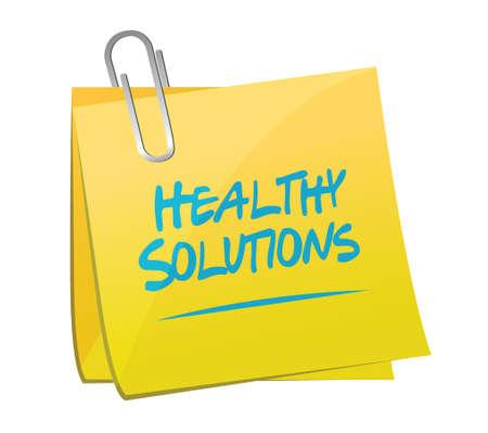 healthy solutions memo post illustration design over white background Illustration