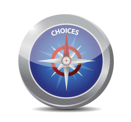 deciding: choices compass sign concept illustration design over white background