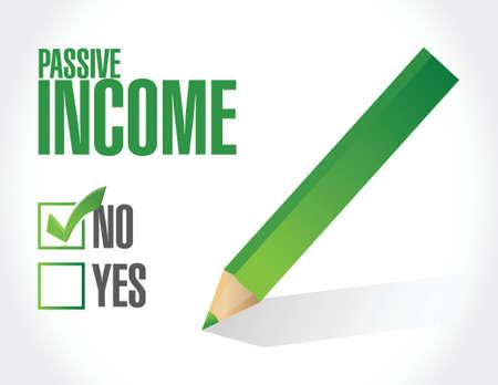 residual income: no passive income sign concept illustration design over white background Illustration