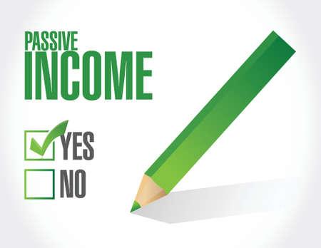 approve: passive income approve concept illustration design over white background