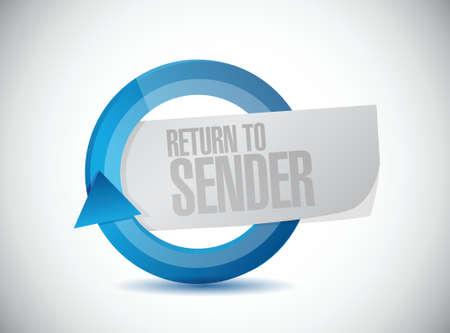 sender: return to sender sign concept illustration design over white
