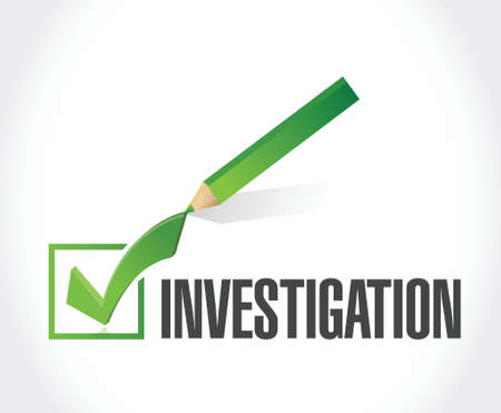 check mark sign: investigation check mark sign concept illustration design over white Illustration