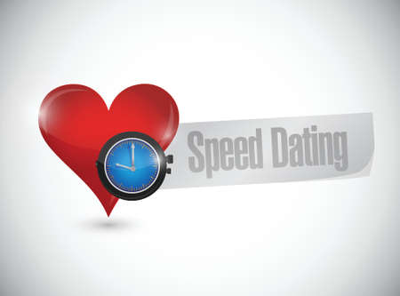 speed dating: speed dating heart watch sign concept illustration design over white Illustration