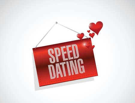 speed dating banner sign concept illustration design over white