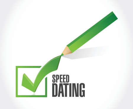 speed dating: speed dating check mark sign concept illustration design over white Illustration