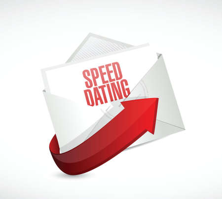 speed dating: speed dating mail sign concept illustration design over white
