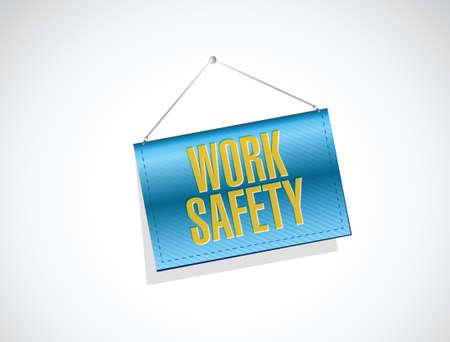 veiligheid op het werk concept illustratie banner teken ontwerp op een witte Stock Illustratie
