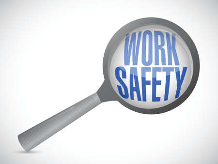 work safety magnify glass illustration design over white Illustration
