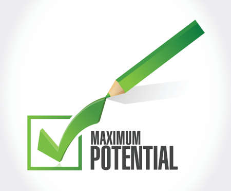 potential: maximum potential check mark sign concept illustration design over white