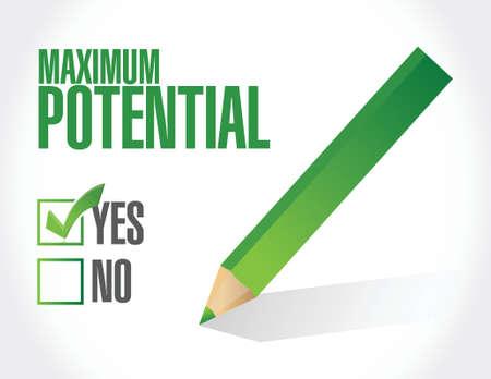 potential: maximum potential check mark sign concept illustration design over white