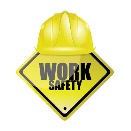 work safety helmet and sign concept illustration design over white Vectores
