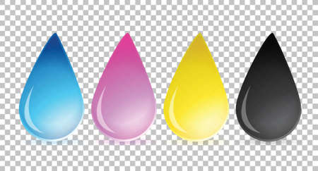 cmyk abstract: cmyk ink drops over a blank design layer illustration design