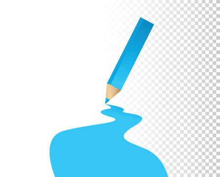 blue color pencil over a blank design layer illustration design