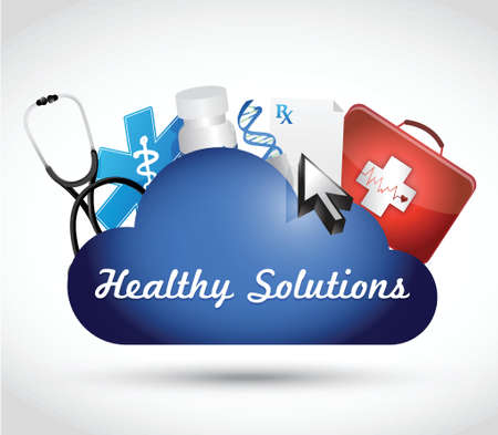 lifecycle: healthy solutions medical objects illustration design over white background