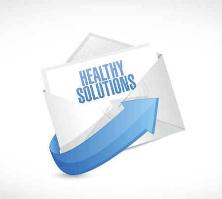 healthy solutions mail illustration design over white background