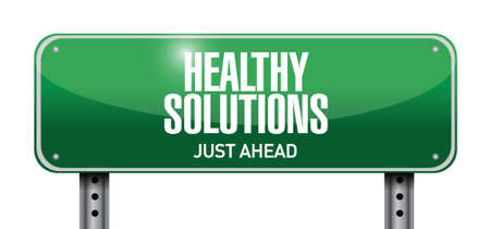 healthy solutions road sign illustration design over white background