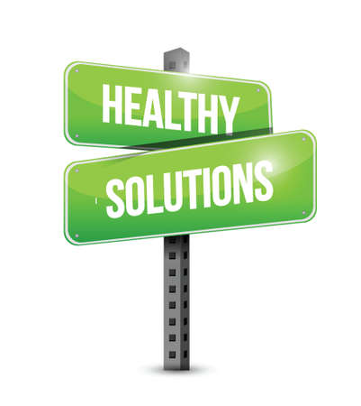 healthy solutions road sign illustration design over white