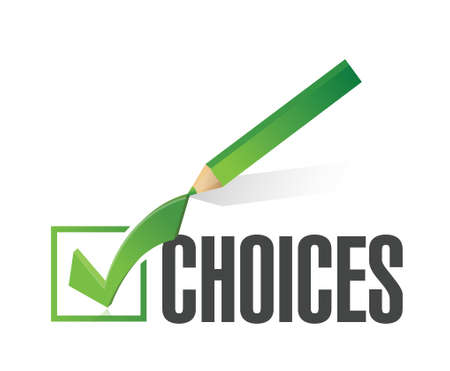 difficult journey: choices check mark concept illustration design over white background